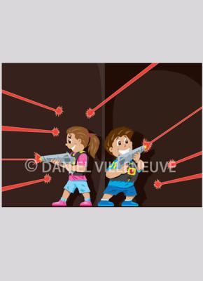 Laser Tag kids illustration